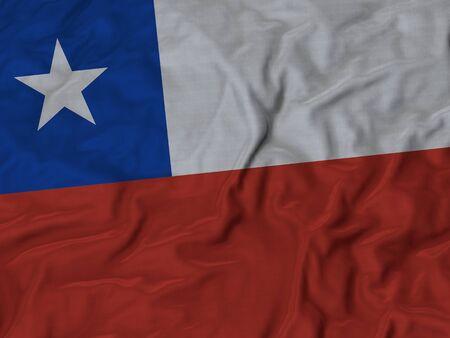 flag of chile: Primer plano de la bandera de Chile con volantes, Fondo de la tela de la bandera de rizado.