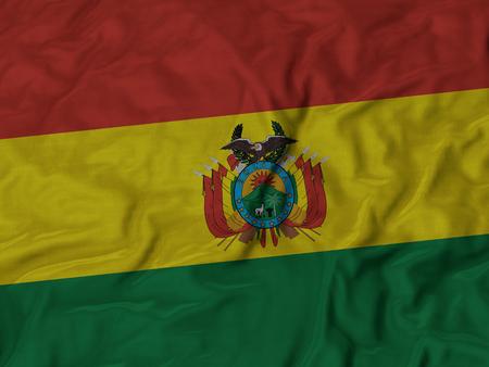 bandera de bolivia: Primer plano de la bandera de Bolivia con volantes, Fondo Tela Bandera rizado.