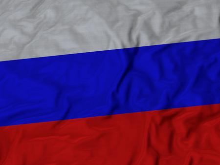 Nahaufnahme des gekräuselten Russland-Flagge, Stoff gekräuselten Flagge Hintergrund.
