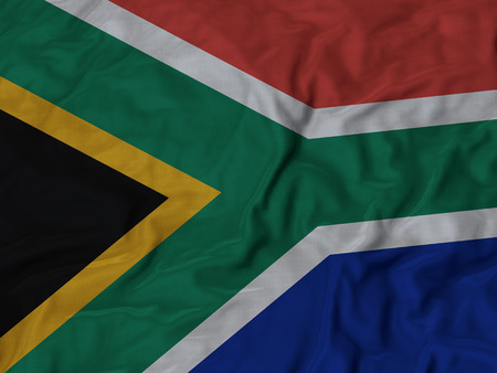south africa flag: Closeup of Ruffled South Africa flag, Fabric Ruffled Flag Background.