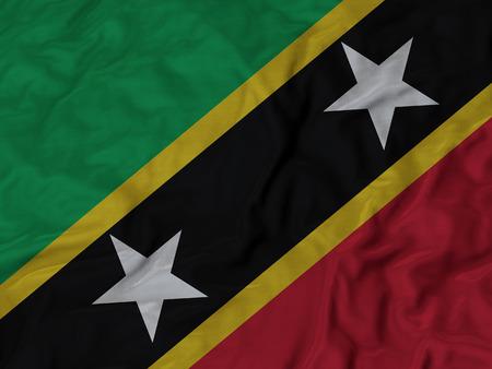 ruffled: Closeup of Ruffled Saint Kitts and Nevis flag, Fabric Ruffled Flag Background.