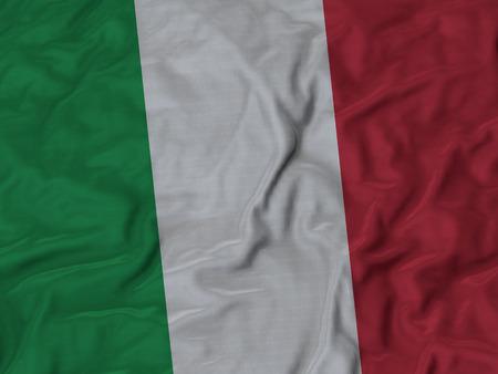 ruffled: Closeup of Ruffled Italy flag, Fabric Ruffled Flag Background.