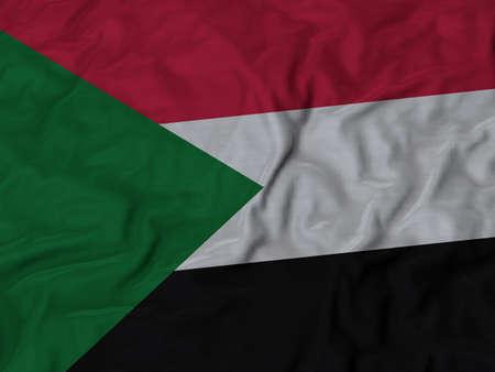 ruffled: Closeup of Ruffled Sudan flag, Fabric Ruffled Flag Background.