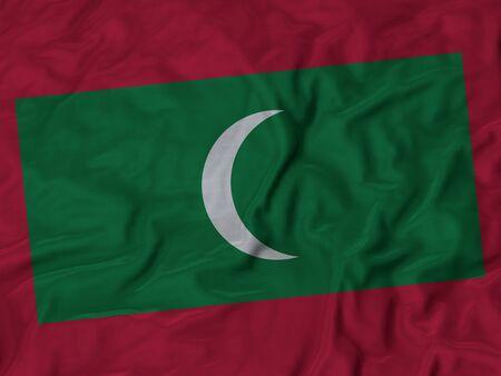 ruffled: Closeup of Ruffled Maldives flag, Fabric Ruffled Flag Background. Stock Photo