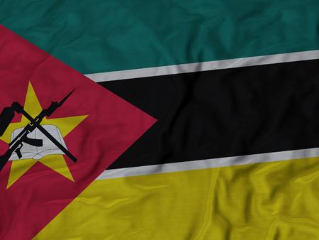 ruffled: Closeup of Ruffled Mozambique flag, Fabric Ruffled Flag Background.