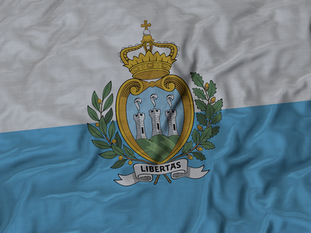 ruffled: Closeup of Ruffled San Marino flag, Fabric Ruffled Flag Background.