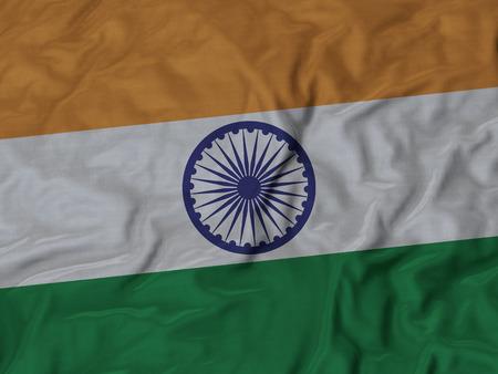 ruffled: Closeup of Ruffled India flag, Fabric Ruffled Flag Background.