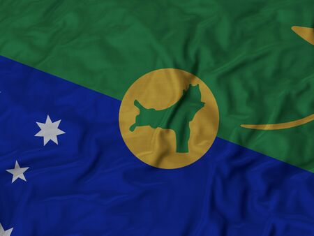 ruffled: Closeup of Ruffled Christmas Island flag, Fabric Ruffled Flag Background. Stock Photo