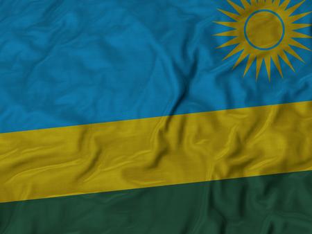 ruffled: Closeup of Ruffled Rwanda flag, Fabric Ruffled Flag Background. Stock Photo