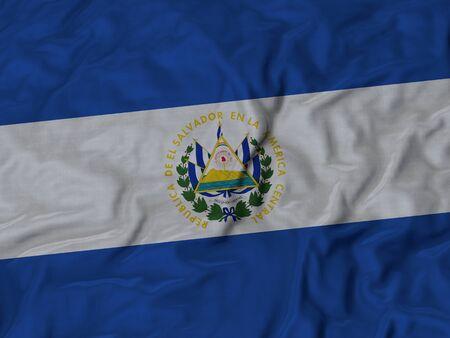 bandera de el salvador: Primer plano de la bandera de El Salvador con volantes, Fondo Tela Bandera rizado.