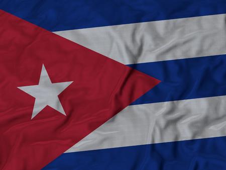 ruffled: Closeup of Ruffled Cuba flag, Fabric Ruffled Flag Background.