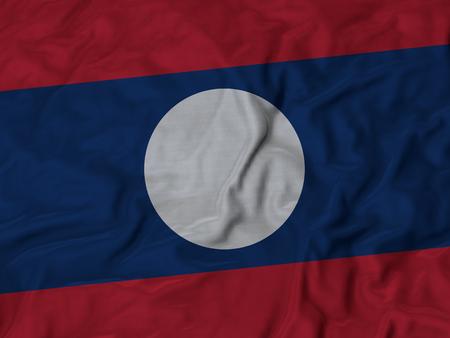 ruffled: Closeup of Ruffled Laos flag, Fabric Ruffled Flag Background.