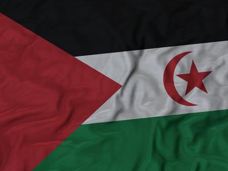 arab flags: Closeup of Ruffled Western Sahara flag, Fabric Ruffled Flag Background.