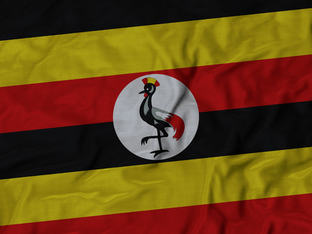 ruffled: Closeup of Ruffled Uganda flag, Fabric Ruffled Flag Background.