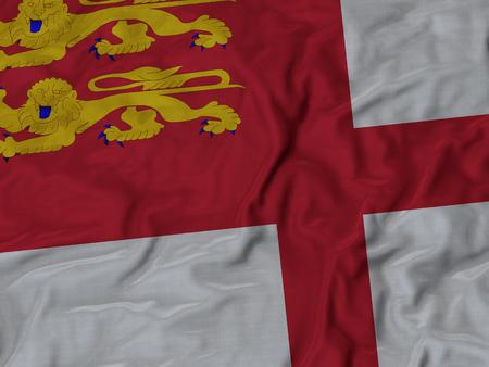 ruffled: Closeup of Ruffled Sark flag, Fabric Ruffled Flag Background. Stock Photo
