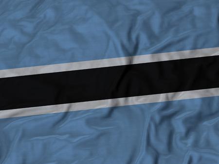 ruffled: Closeup of Ruffled Botswana flag, Fabric Ruffled Flag Background.