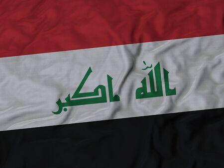 ruffled: Closeup of Ruffled Iraq flag, Fabric Ruffled Flag Background.