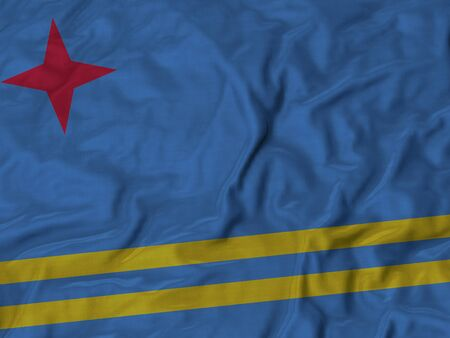 aruba flag: Closeup of Ruffled Aruba flag, Fabric Flag Background. Stock Photo