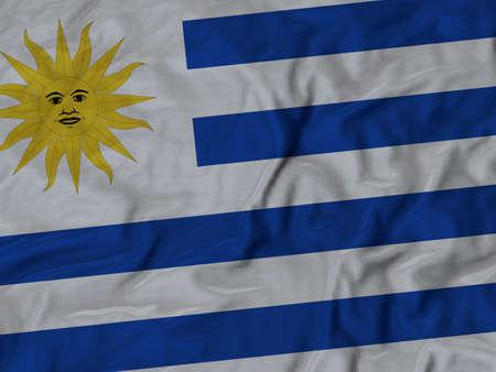 bandera de uruguay: Primer plano de la bandera de Uruguay con volantes, Fondo Tela Bandera rizado.