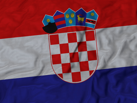 ruffled: Closeup of Ruffled Croatia flag, Fabric Ruffled Flag Background. Stock Photo