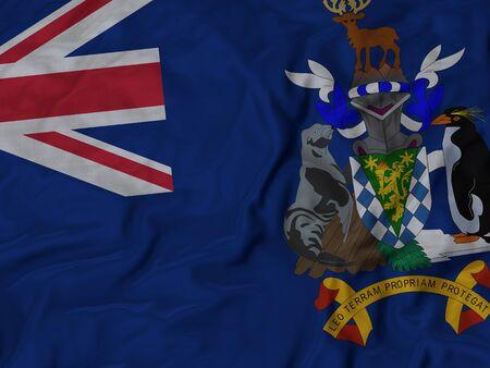 sandwish: Closeup of Ruffled South Georgia and the South Sandwish Island flag, Fabric Ruffled Flag Background.