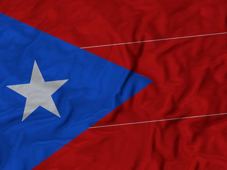 ruffled: Closeup of Ruffled Puerto Rico flag, Fabric Ruffled Flag Background.