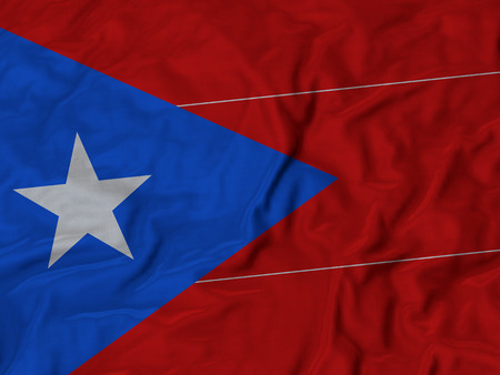 bandera de puerto rico: Primer plano de la bandera de Puerto Rico con volantes, Fondo Tela Bandera rizado. Foto de archivo