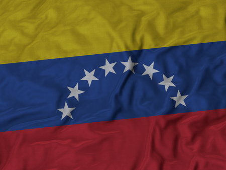 bandera de venezuela: Primer plano de la bandera de Venezuela con volantes, Fondo de la tela de la bandera de rizado.