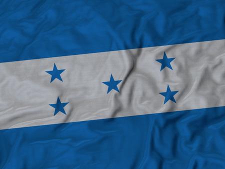bandera honduras: Primer plano de la bandera de Honduras con volantes, Fondo de la tela de la bandera de rizado. Foto de archivo