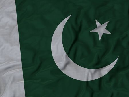 pakistan flag: Closeup of Ruffled Pakistan flag, Fabric Ruffled Flag Background. Stock Photo