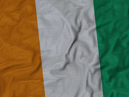 cote d ivoire: Closeup of Ruffled Cote d Ivoire flag, Fabric Ruffled Flag Background.