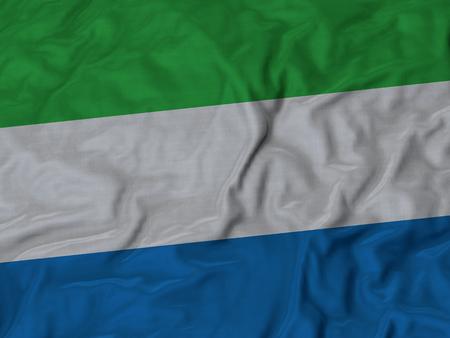 ruffled: Closeup of Ruffled Sierra Leone flag, Fabric Ruffled Flag Background.