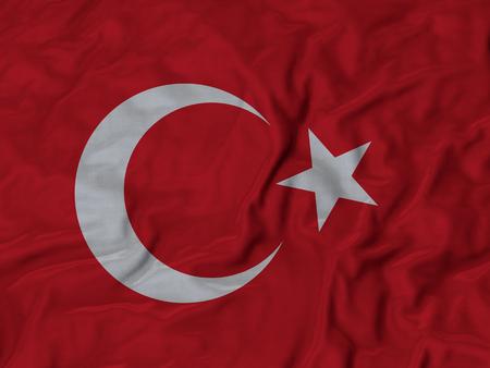 Closeup of Ruffled Turkey flag, Fabric Ruffled Flag Background.