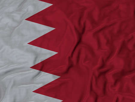 ruffled: Closeup of Ruffled Bahrain flag, Fabric Flag Background.