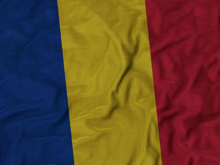 ruffled: Closeup of Ruffled Romania flag, Fabric Ruffled Flag Background. Stock Photo