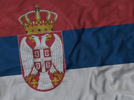 ruffled: Closeup of Ruffled Serbia flag, Fabric Ruffled Flag Background. Stock Photo