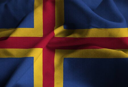 Closeup of Ruffled Aland Flag, Aland Flag Blowing in Wind Stock Photo