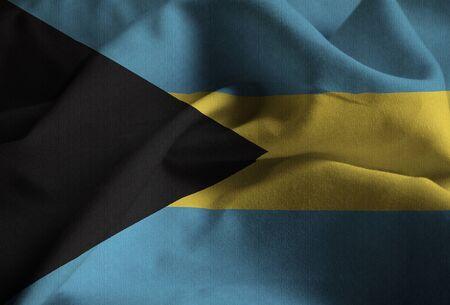 Closeup of Ruffled Bahamas Flag, Bahamas Flag Blowing in Wind
