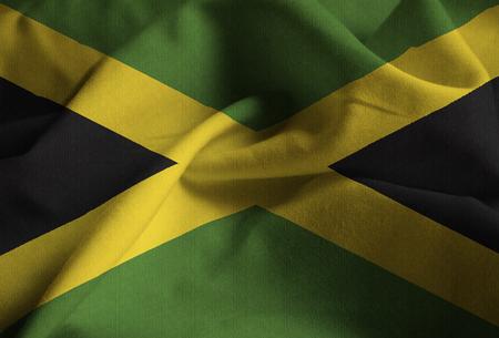 Closeup of Ruffled Jamaica Flag, Jamaica Flag Blowing in Wind