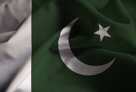 Closeup of Ruffled Pakistan Flag, Pakistan Flag Blowing in Wind