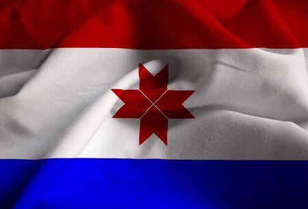 Closeup of Ruffled Mordovia Flag, Mordovia Flag Blowing in Wind