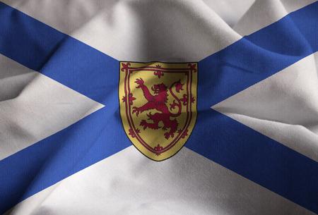 Closeup of Ruffled Nova Scotia Flag, Nova Scotia Flag Blowing in Wind Stock Photo