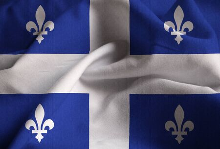 quebec: Closeup of Ruffled Quebec  Flag, Quebec Flag Blowing in Wind