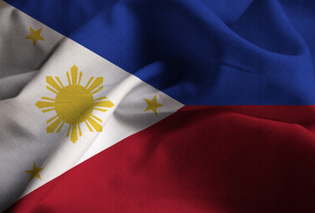 filipino people: Closeup of Ruffled Philippines Flag, Philippines Flag Blowing in Wind Stock Photo