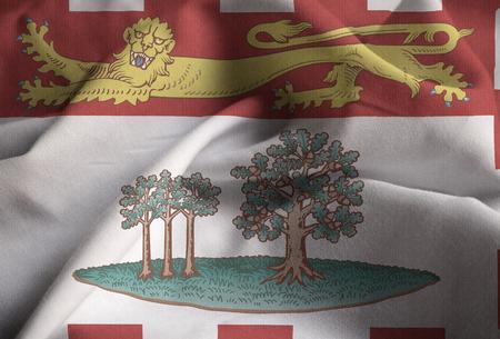 Closeup of Ruffled Prince Edward Island Flag, Prince Edward Island Flag Blowing in Wind