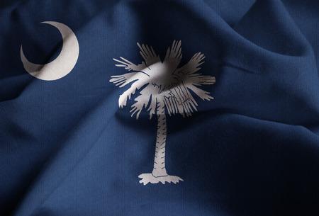 Closeup of Ruffled South Carolina Flag, South Carolina Flag Blowing in Wind