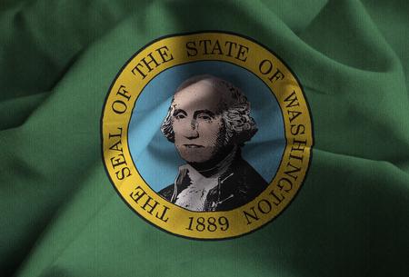 Closeup of Ruffled Washington Flag, Washington Flag Blowing in Wind