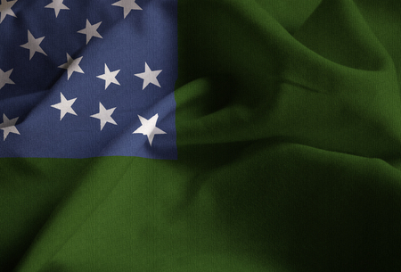 Closeup of Ruffled Vermont Republic Flag, Vermont Republic Flag Blowing in Wind