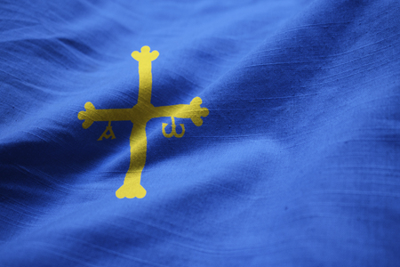 Closeup of Ruffled Asturias Flag, Asturias Flag Blowing in Wind