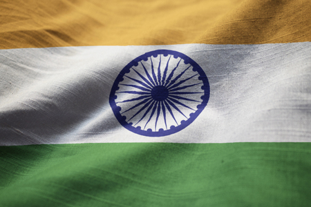 Closeup of Ruffled India Flag, India Flag Blowing in Wind Stock Photo